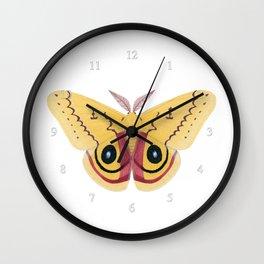 io moth (Automeris io) male specimen 2 Wall Clock