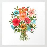 oana befort Art Prints featuring BOUQUET by Oana Befort