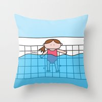 pool Throw Pillows featuring Pool by oekie
