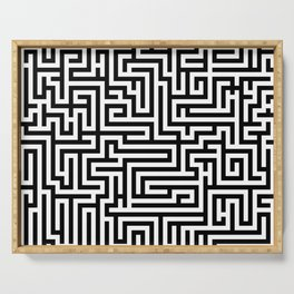 Black and white Labyrinth Serving Tray