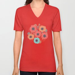 Colorful Poppies Unisex V-Neck
