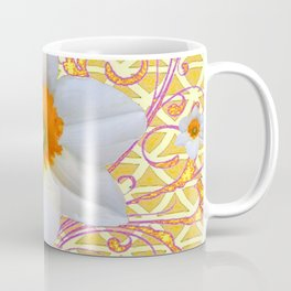 WHITE DAFFODILS DELICATE VIOLET SCROLLS ART  PATTERN Coffee Mug