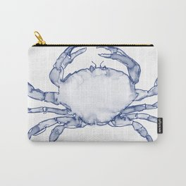 Crab Watercolor (Part of a Set of 3), Navy and White Carry-All Pouch