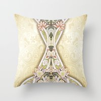 vintage floral Throw Pillows featuring Vintage Floral by Robin Curtiss
