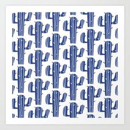 Mid Century Modern Desert Cactus Pattern 847 Indigo Blue Art Print