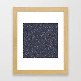 Speckles I: Dark Gold on Blue Vortex Framed Art Print