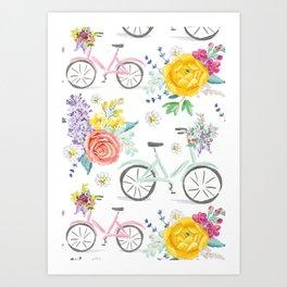 Bike and bouquets pattern Art Print