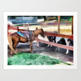 Horse By The Fence 1 Art Print