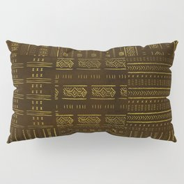 Gold African Tribal Pattern on rich brown texture Pillow Sham