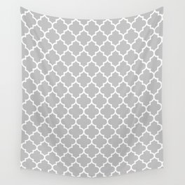 White Moroccan Quatrefoil On Silver Gray Wall Tapestry