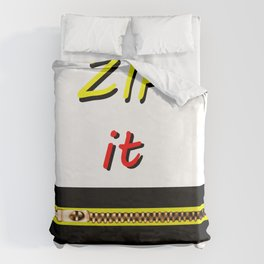 Zip it Black Yellow Red jGibney The MUSEUM Gifts Duvet Cover