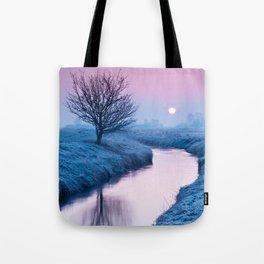 Misty Sunrise On The River Tote Bag