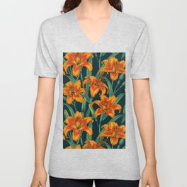 Orange lily flowers Unisex V-Neck