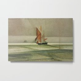 Ostsee-Schoner Nautical - Maritime landscape painting by Lyonel Feininger Metal Print