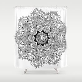 paisley black and white hippie boho mandala Shower Curtain