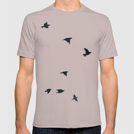Ravens Birds in Black and White T-shirt