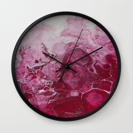 Magenta Love, abstract acrylic fluid painting Wall Clock