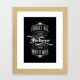 Lab No. 4 - Work and Believe Inspirational Typography Quotes Poster Framed Art Print