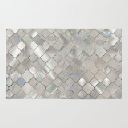 Quatrefoil Moroccan Pattern Mother of Pearl Rug