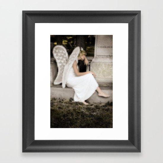 A Guardian Angel graveside Framed Art Print