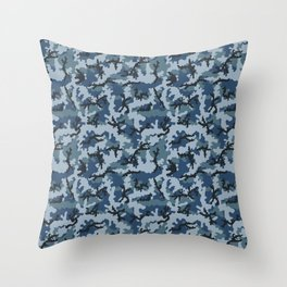 Navy camouflage Throw Pillow