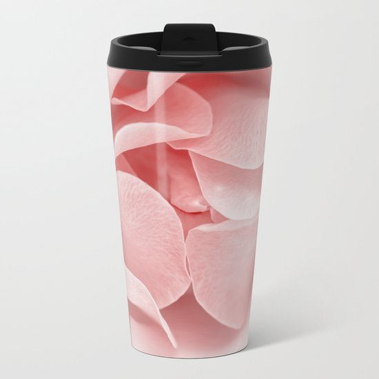 Pink flora Rose Bud- Roses and flowers Metal Travel Mug