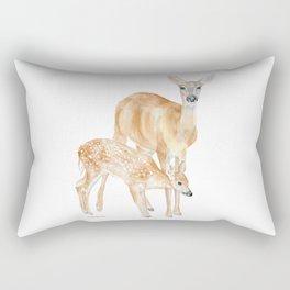 Mother and Baby Deer Watercolor Rectangular Pillow