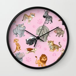 African Animals-Kids Pink background Wall Clock
