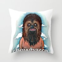 chewbacca Throw Pillows featuring CHEWBACCA by Morbix