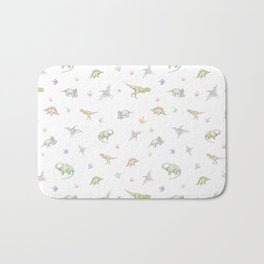 Hand drawn pattern with dinosaurs. Сolored pencils, white background. Bath Mat
