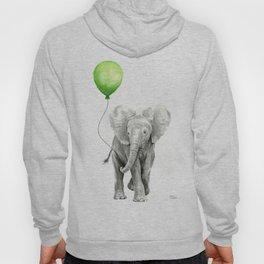Baby Elephant with Green Balloon Hoody