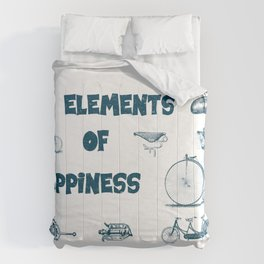 Vintage Bike Elements  with pedal, crank and bell. Elements of Happiness, enjoy your ride. Comforters