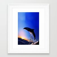 dolphin Framed Art Prints featuring DOLPHIN by Ylenia Pizzetti