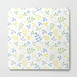 Assorted Leaf Silhouettes Blue Green Grey Yellow White Ptn Metal Print