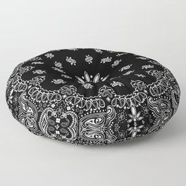 black and white bandana pattern Floor Pillow