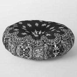 black and white bandana pattern Floor Pillow