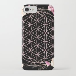 Flower of Life Rose Gold Garden on Black iPhone Case