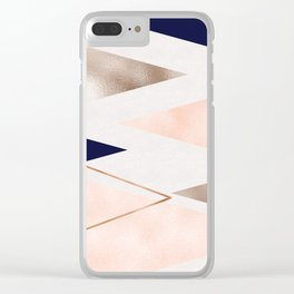 Rose gold french navy geometric Clear iPhone Case