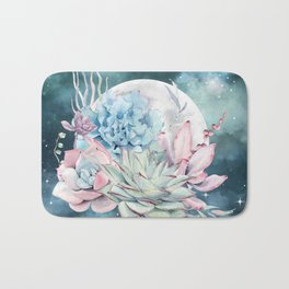 Beautiful Succulents Full Moon Teal Pink Bath Mat