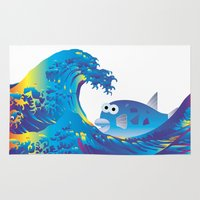 hokusai Area & Throw Rugs featuring Hokusai Rainbow & Globefish  by FACTORIE