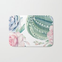 Cactus Rose Succulents Garden Bath Mat