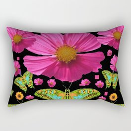 FUCHSIA PINK COSMO FLORALS GREEN MOTHS Rectangular Pillow