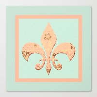fleur de lis Canvas Prints featuring Fleur de Lis by Artistic Home Decor
