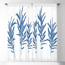 Eucalyptus Branches Blue Blackout Curtain