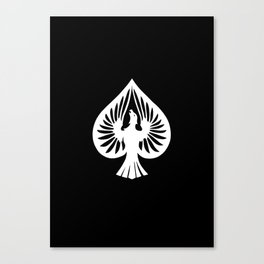 White Phoenix Ace of Spades Canvas Print