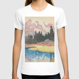 Mount Rainier Vintage Beautiful Japanese Woodblock Print Hiroshi Yoshida T-shirt