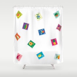 Fruit Stamps 12 Shower Curtain