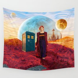 13th Doctor at Gallifrey Planet Wall Tapestry