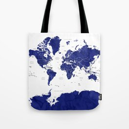 Navy blue world map with countries Tote Bag