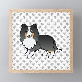 Tricolor Shetland Sheepdog Dog Cartoon Illustration Framed Mini Art Print